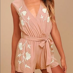 Lulu's petals blush pink embroidered romper